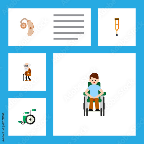 Valokuva  Flat Icon Handicapped Set Of Ancestor, Disabled Person, Stand Vector Objects