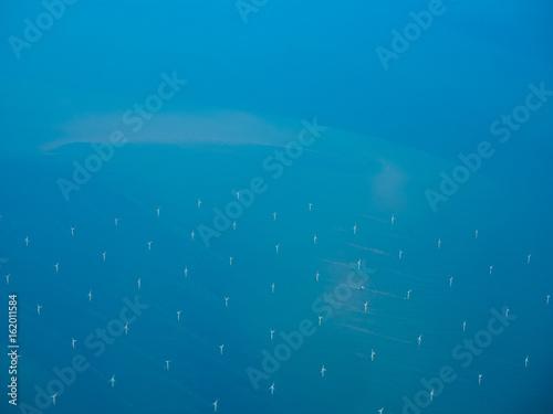 Fotografía Aerial view of wind farm