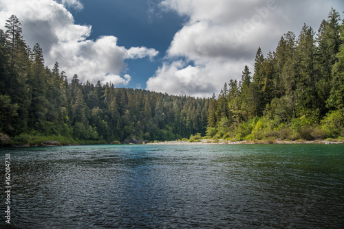 Foto op Aluminium Rivier A river flowing through a forest on a cloudy day.