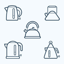 Kettle Icon Set, Vector Symbol...
