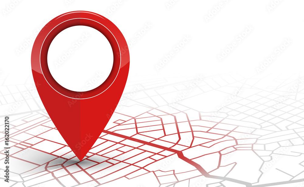 Fototapeta GPS navigator pin checking red color on white background