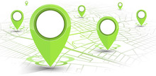 GPS Navigator Pin Green Color Mock Up Wite Map On White Background
