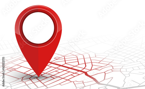 Fotografia  GPS navigator pin checking red color on white background