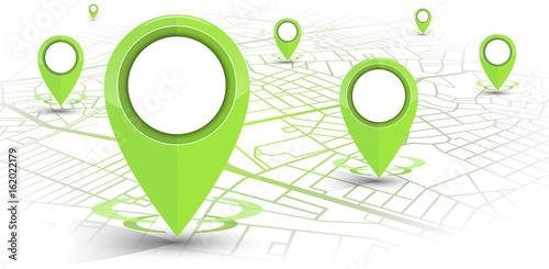 Zdjęcie XXL GPS nawigatora szpilki zielony kolor wyśmiewa wite mapę na białym tle