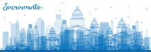Outline Sacramento Skyline With Blue Buildings.