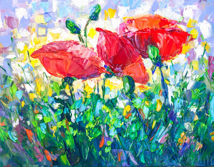 Fototapeta Oil Painting, Impressionism style, texture painting, flower still life painting art painted color image,