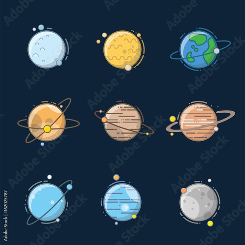 Planet in solar system with cartoon and outline - 162025787