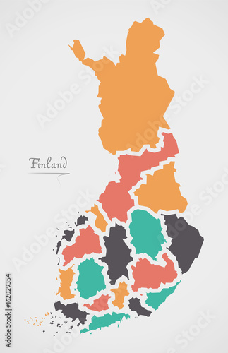 Photo Finland Map with states and modern round shapes