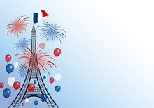 Vector 14 July Bastille Day Design Of Eiffel With Firework And Balloon