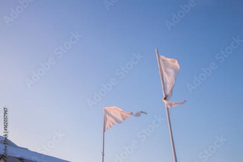 Fotografía  Banderines blancos ondeando en el cielo azul