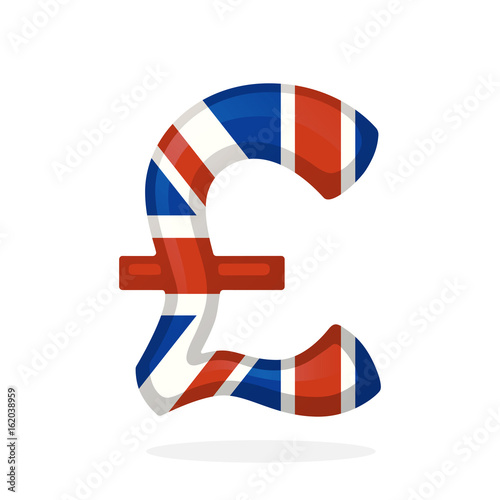 Vector Illustration Sign Of British Pound In National Flag Colors