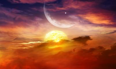 Glowing sunset . Ramadan Kareem .