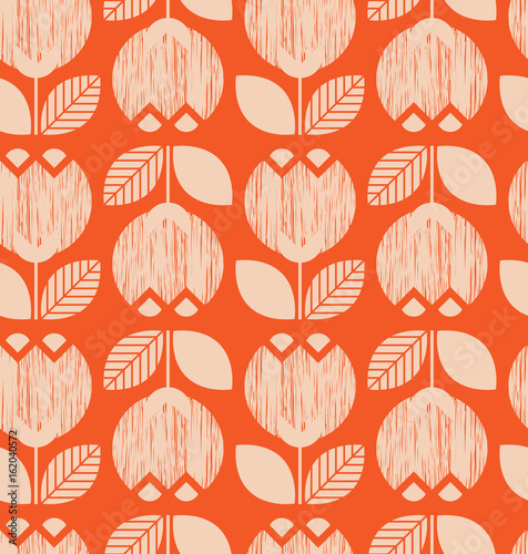 seamless retro pattern with flowers Canvas Print