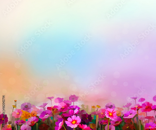 Poster Fleur Abstract colorful oil painting red, pink cosmos flower, daisy, wildflower in field. Blurry wildflowers at meadow with soft blue sky. Spring, summer season nature background.