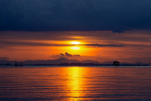 Low Key Image Of Sunset Sky On...