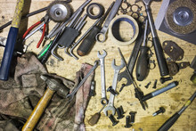 DIY Working Tools On Wooden Rustic Background. Top View.