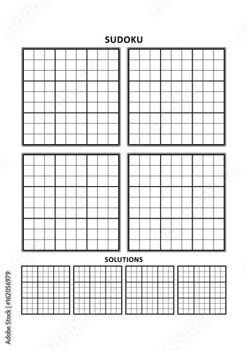 image relating to Sudoku Printable Grid named Sudoku puzzle blank template, 4 grids with tactic grids