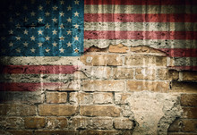 Grunge USA Flag On Brick Wall ...