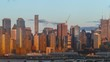 Time lapse! Skyline off Manhattan Island New York City at dusk seen from New Jersey