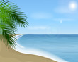 Summer sea landscape with palm branch. Vector landscape