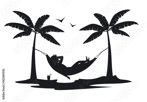 man relaxing in hammock on the beach at sunset silhouette.man relaxing in hammock on the beach at sunset silhouette.