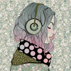 Fototapeta samoprzylepna beautiful girl with headphones