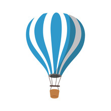 Hot Air Balloon Icon Over Whit...