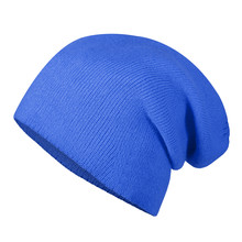 Blue Winter Autumn Beannie Hat Cap On Invisible Mannequin Isolated On White
