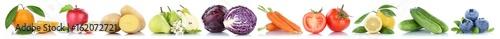 Tuinposter Verse groenten Obst und Gemüse Früchte Apfel Kraut Tomaten Zitrone Kartoffeln Freisteller freigestellt isoliert in einer Reihe