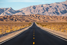 A Road Runs In The Death Valley National Park, California, USA.