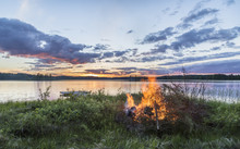 Beautiful Midsummer Night In Finland Next To Lake
