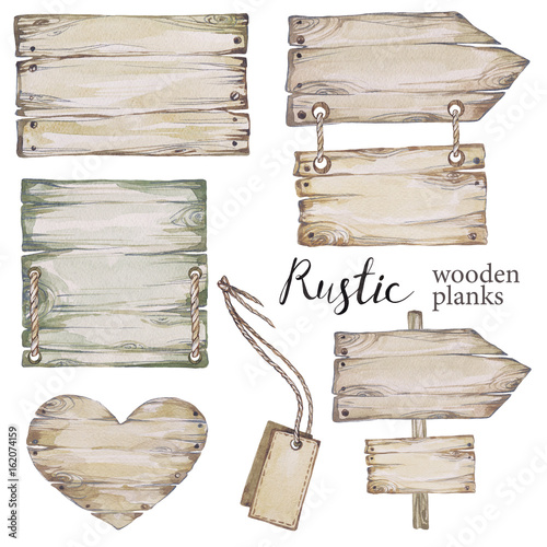 Handpainted collection watercolor wood planks clipart.