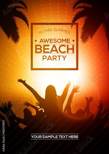summer beach party flyer editable vector template a4 size design