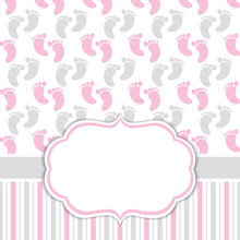 Card Template With Baby Girl F...