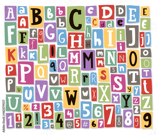 Photo Colorful vector alphabet letters made of newspaper magazine font abc paper text