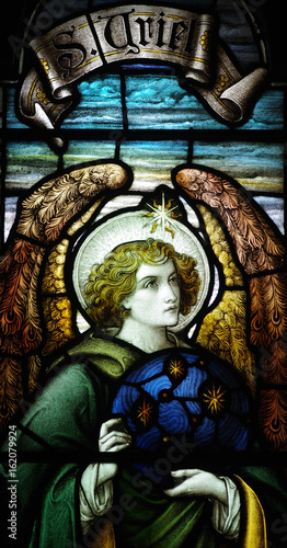 Canvas Print Archangel Uriel in stained glass