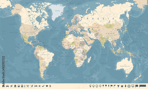 Fotobehang Wereldkaart Vintage World Map and Markers - Vector Illustration