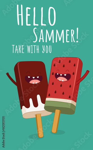Summer greeting card. Cute illustration with watermelon slice and ice cream in glasses, speech bubble and hand written text Hello summer . Greeting card or poster for printing.