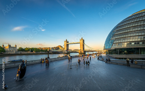 Panoramic view of Southwark Skyline and tower bridge with people at sunset Wallpaper Mural