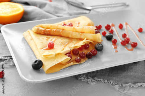 Fototapety, obrazy: Tasty pancakes with berry sauce for breakfast on plate