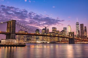 Obraz na Szkle Mosty ブルックリン橋とニューヨークの夜景