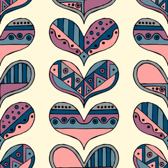 NaklejkaVector hand drawn seamless pattern, decorative stylized childlike hearts. Doodle style, tribal graphic illustration Cute hand drawing in vintage colors. Series of doodle, cartoon, sketch illustrations