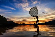 Mekong River Fish Sunset