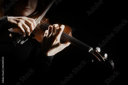 Türaufkleber Musik Violin player. Violinist playing violin hands