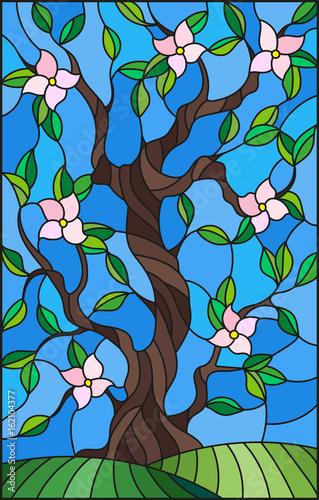 ilustracja-w-witrazu-stylu-z-kwiatonosnym-drzewem-na-niebieskiego-nieba-tle