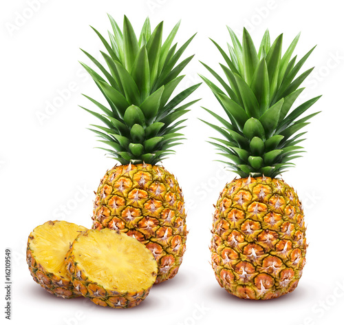 Pineapple isolated. Whole and sliced pineapple isolated on white background Clipping Path