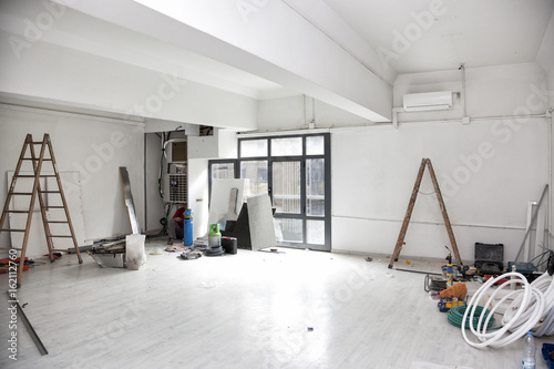 Fotografie, Obraz  Construction works for the renovation of an office space and installing air conditioning