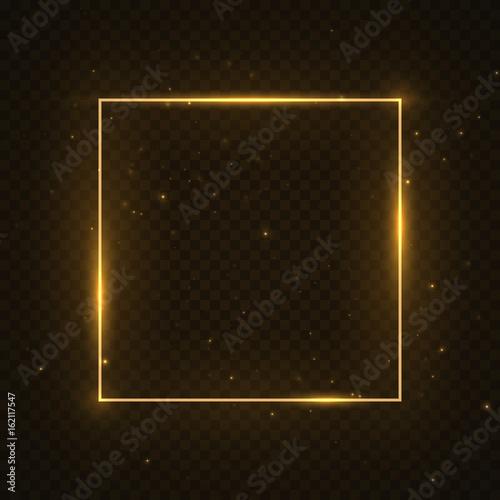 Obraz Vector glowing magic square frame. Glowing neon fire wave. Glitter sparkle trail effect on dark transparent background - fototapety do salonu