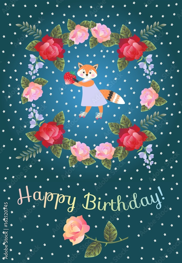 Happy Birthday Greeting Card For Baby With Cute Lovely Fox And Wreath Of Red Pink Roses Bells Flowers Foto Poster Wandbilder Bei EuroPosters