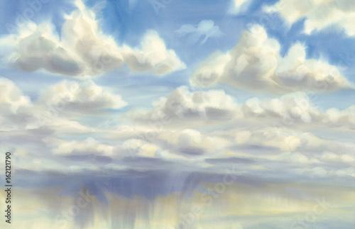niebo-z-chmurami-i-deszcz-tlo-akwarela